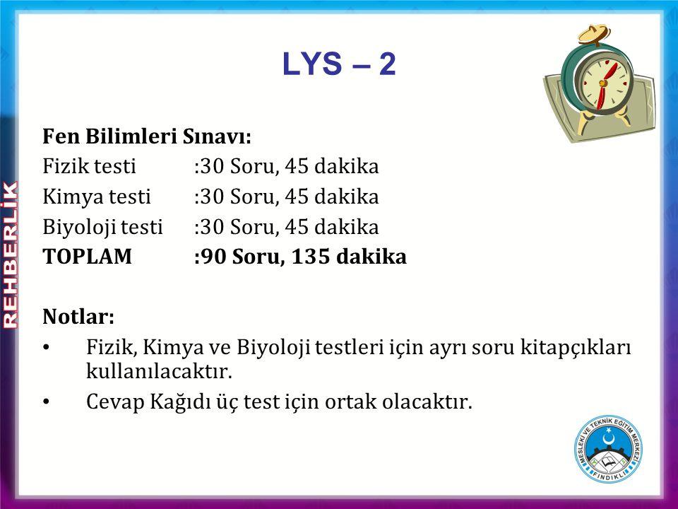 LYS – 2 Fen Bilimleri Sınavı: Fizik testi :30 Soru, 45 dakika