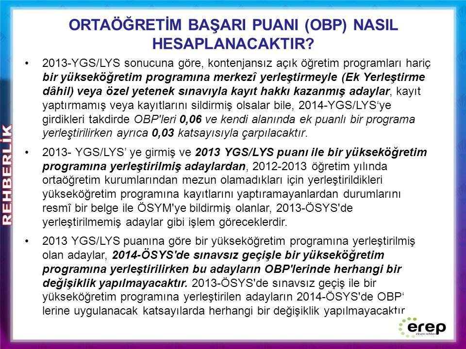 ORTAÖĞRETİM BAŞARI PUANI (OBP) NASIL HESAPLANACAKTIR