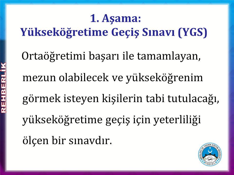 1. Aşama: Yükseköğretime Geçiş Sınavı (YGS)