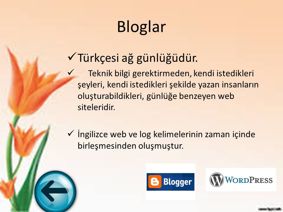 Bloglar Türkçesi ağ günlüğüdür.