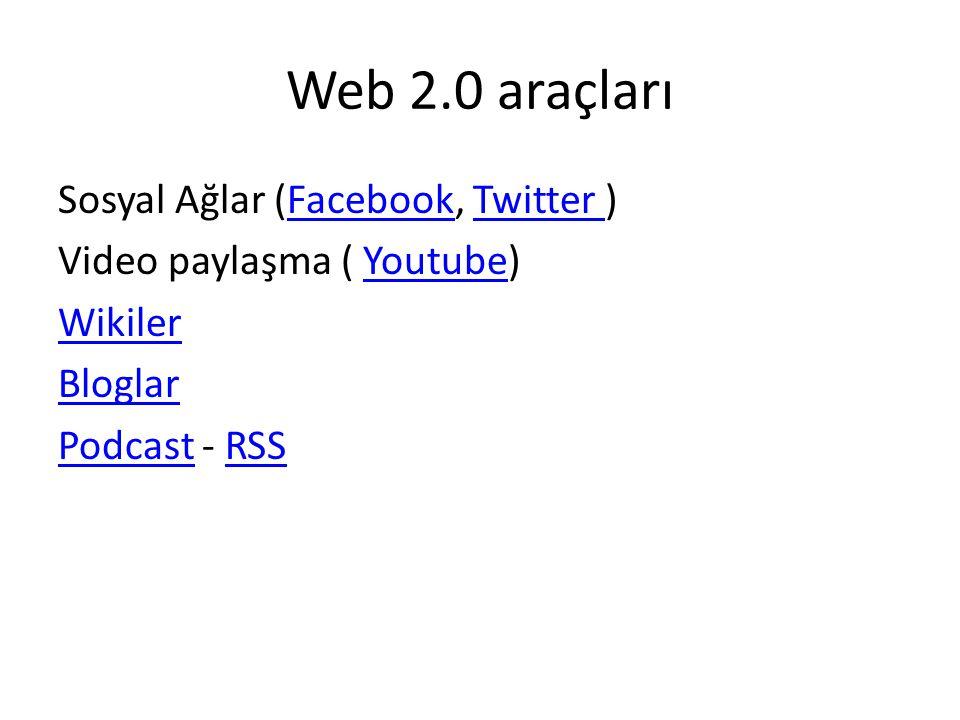 Web 2.0 araçları Sosyal Ağlar (Facebook, Twitter ) Video paylaşma ( Youtube) Wikiler Bloglar Podcast - RSS
