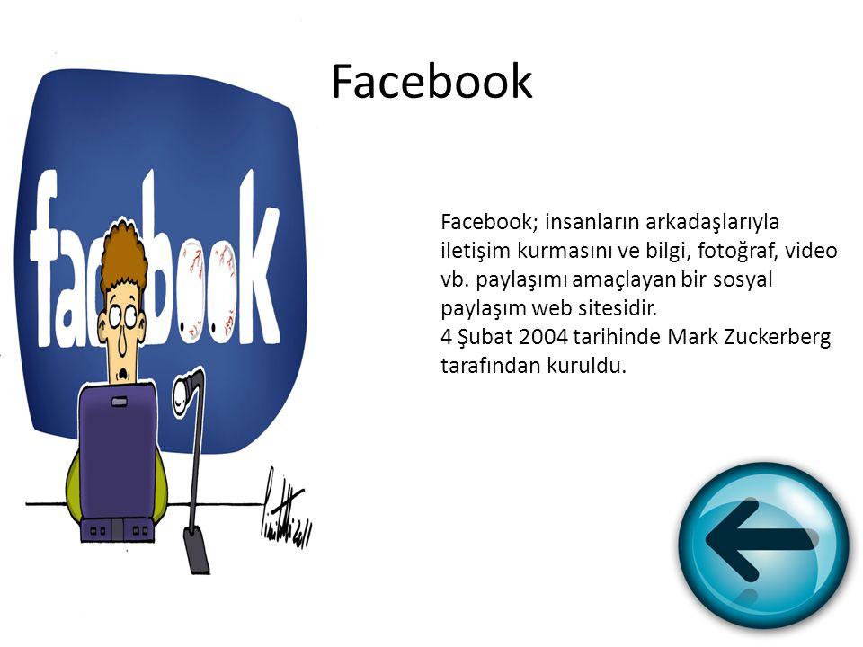 Facebook Facebook; insanların arkadaşlarıyla iletişim kurmasını ve bilgi, fotoğraf, video vb. paylaşımı amaçlayan bir sosyal paylaşım web sitesidir.