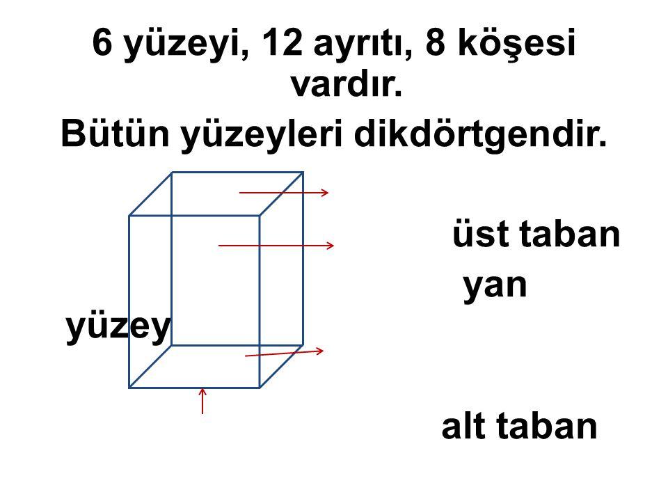 6 yüzeyi, 12 ayrıtı, 8 köşesi vardır. Bütün yüzeyleri dikdörtgendir