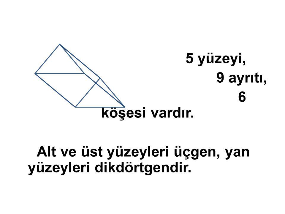 Alt ve üst yüzeyleri üçgen, yan yüzeyleri dikdörtgendir.