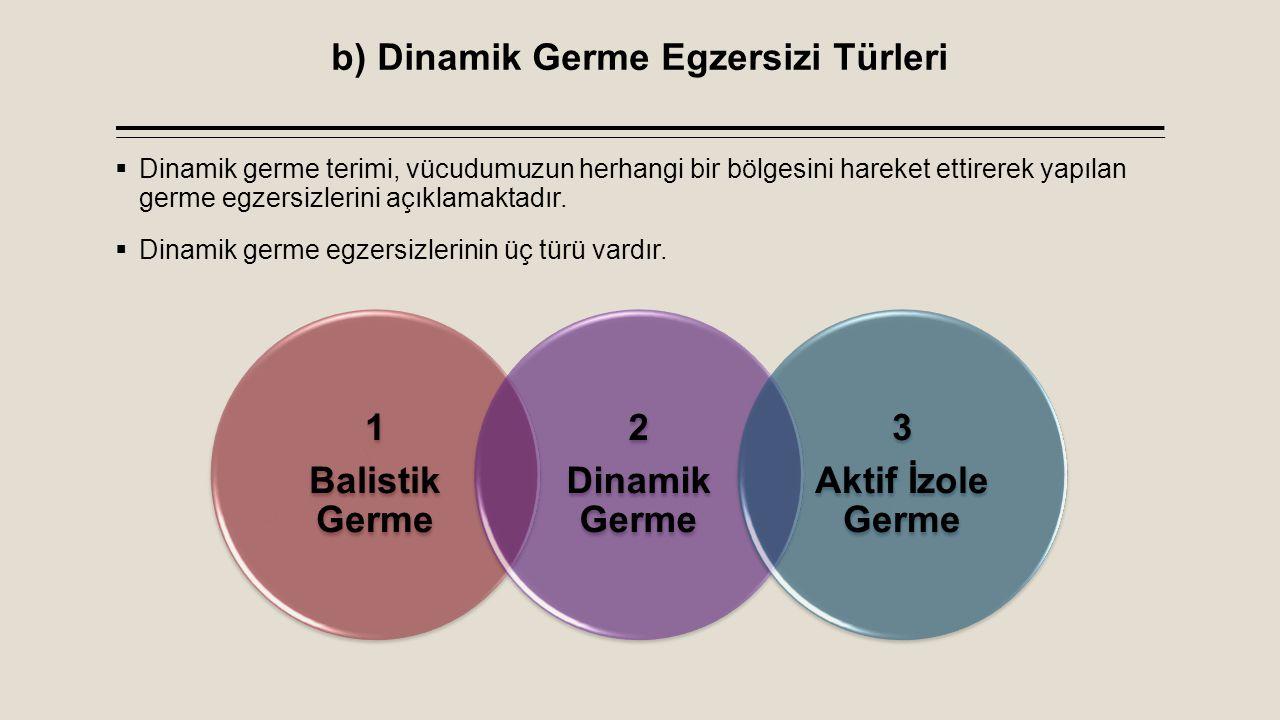 b) Dinamik Germe Egzersizi Türleri