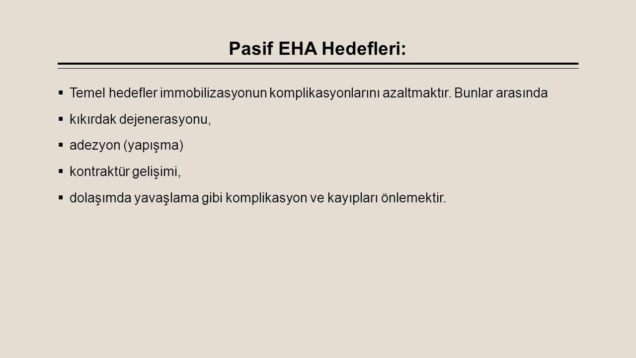 Pasif EHA Hedefleri: Temel hedefler immobilizasyonun komplikasyonlarını azaltmaktır. Bunlar arasında.