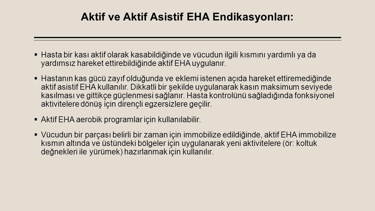 Aktif ve Aktif Asistif EHA Endikasyonları: