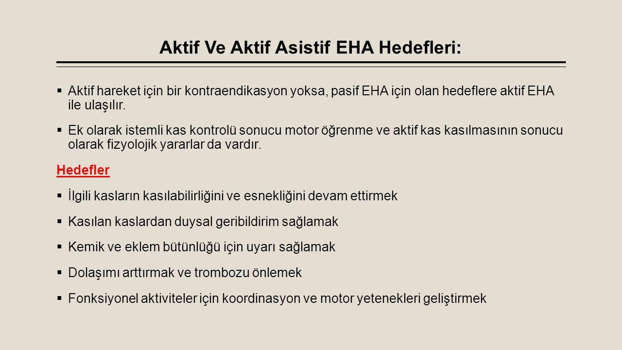 Aktif Ve Aktif Asistif EHA Hedefleri:
