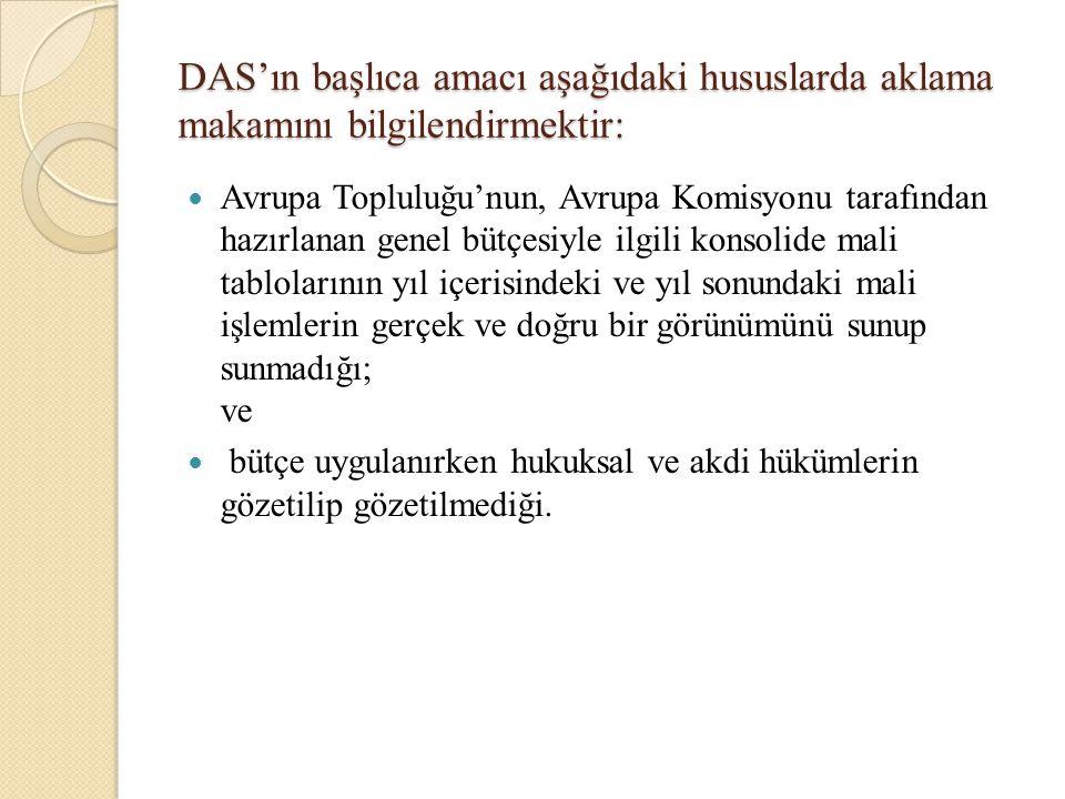 DAS'ın başlıca amacı aşağıdaki hususlarda aklama makamını bilgilendirmektir: