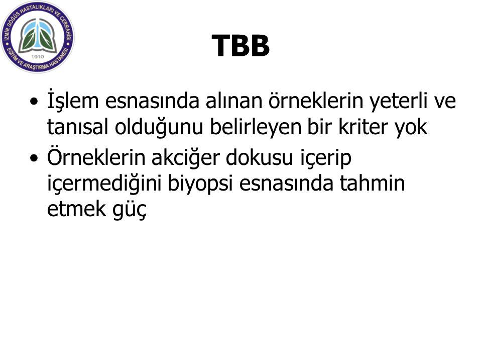 TBB İşlem esnasında alınan örneklerin yeterli ve tanısal olduğunu belirleyen bir kriter yok.