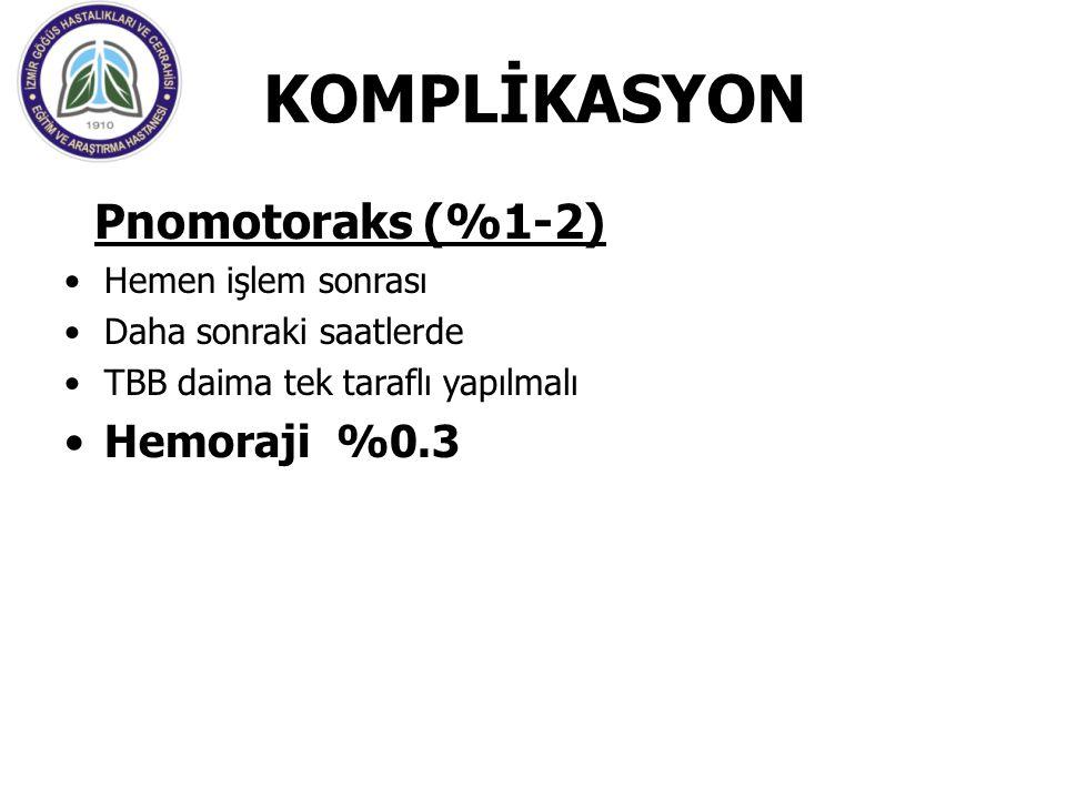 KOMPLİKASYON Pnomotoraks (%1-2) Hemoraji %0.3 Hemen işlem sonrası