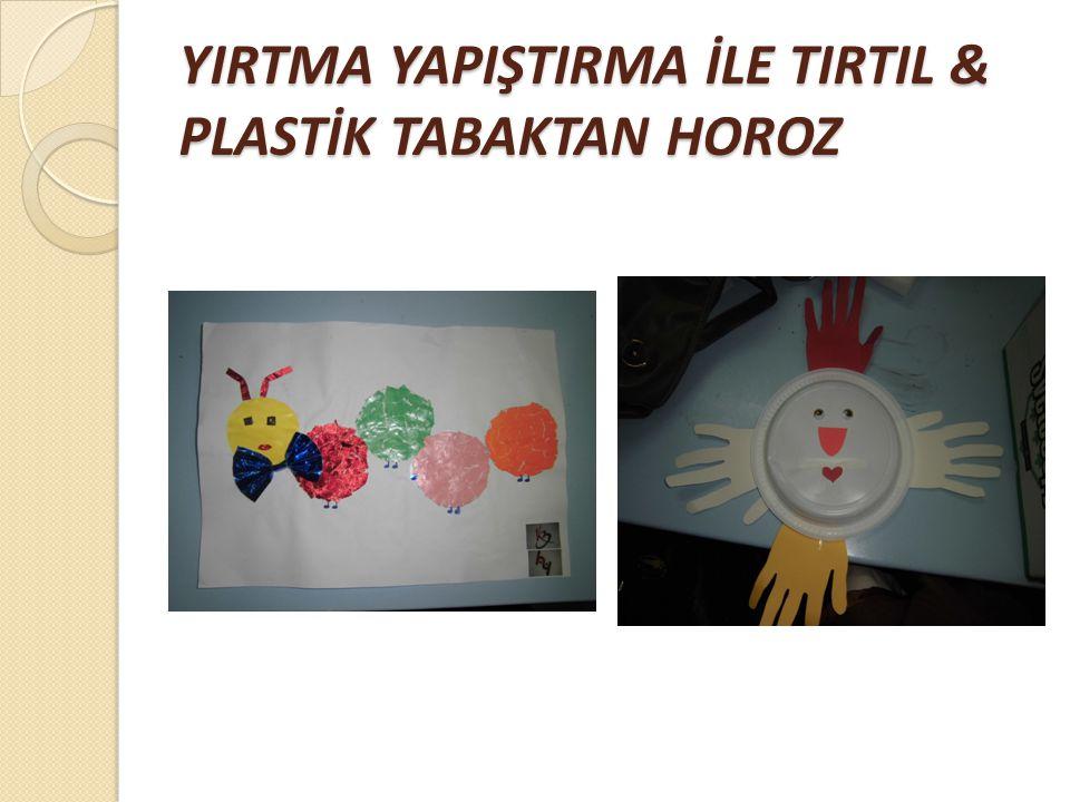YIRTMA YAPIŞTIRMA İLE TIRTIL & PLASTİK TABAKTAN HOROZ