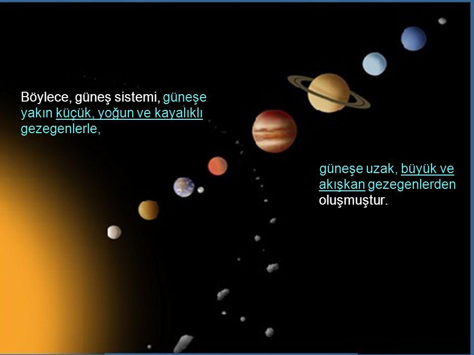 Böylece, güneş sistemi, güneşe yakın küçük, yoğun ve kayalıklı gezegenlerle,