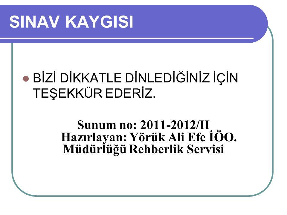 Hazırlayan: Yörük Ali Efe İÖO. Müdürlüğü Rehberlik Servisi