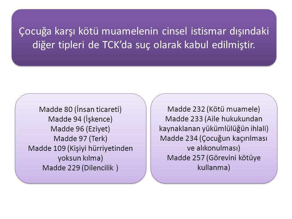 Çocuğa karşı kötü muamelenin cinsel istismar dışındaki diğer tipleri de TCK'da suç olarak kabul edilmiştir.