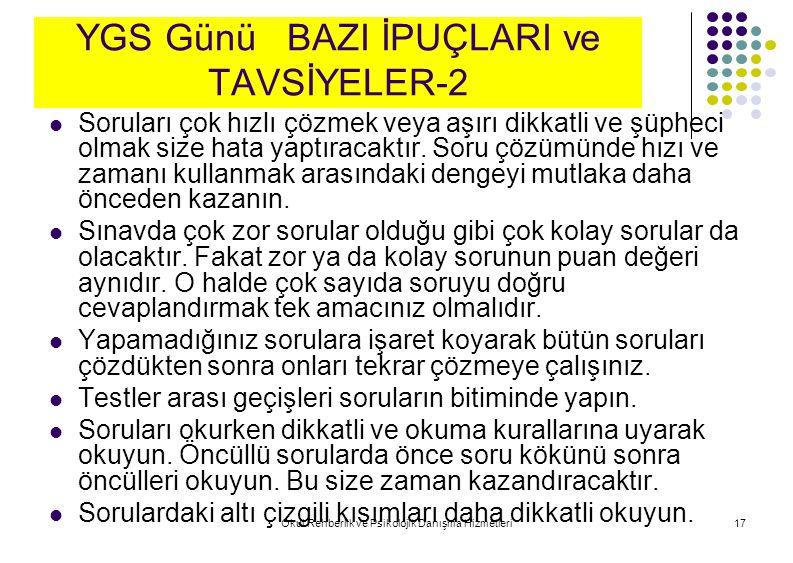 YGS Günü BAZI İPUÇLARI ve TAVSİYELER-2