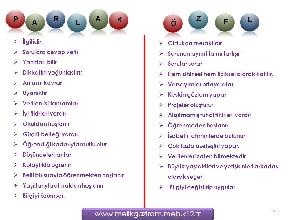 P R A K A L Ö Z L E www.melikgaziram.meb.k12.tr İlgilidir