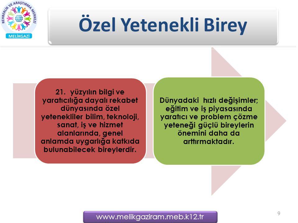 www.melikgaziram.meb.k12.tr Özel Yetenekli Birey