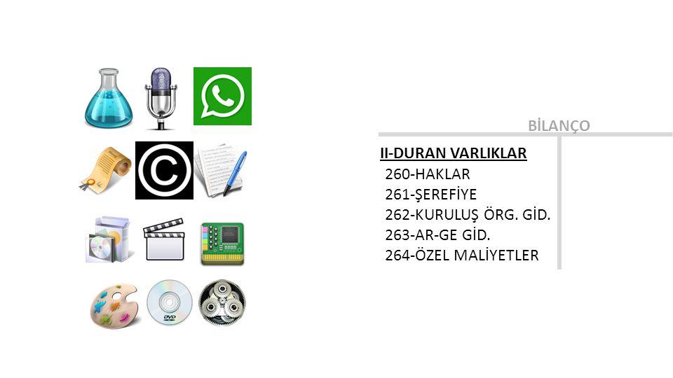 BİLANÇO II-DURAN VARLIKLAR. 260-HAKLAR. 261-ŞEREFİYE.