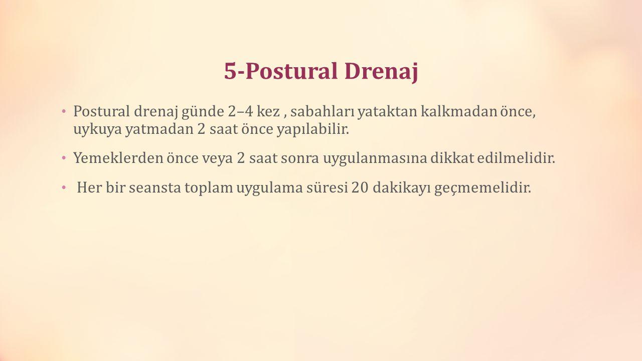 5-Postural Drenaj Postural drenaj günde 2–4 kez , sabahları yataktan kalkmadan önce, uykuya yatmadan 2 saat önce yapılabilir.
