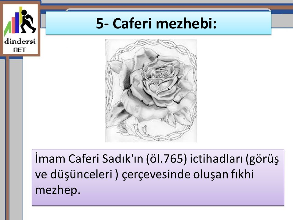 5- Caferi mezhebi: İmam Caferi Sadık ın (öl.765) ictihadları (görüş ve düşünceleri ) çerçevesinde oluşan fıkhi mezhep.