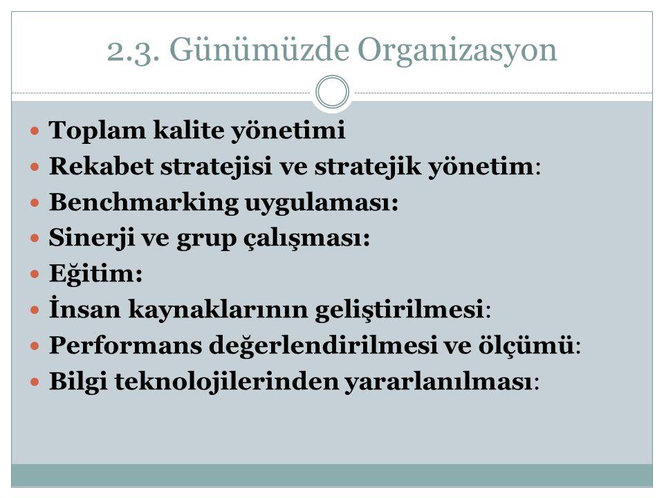 2.3. Günümüzde Organizasyon