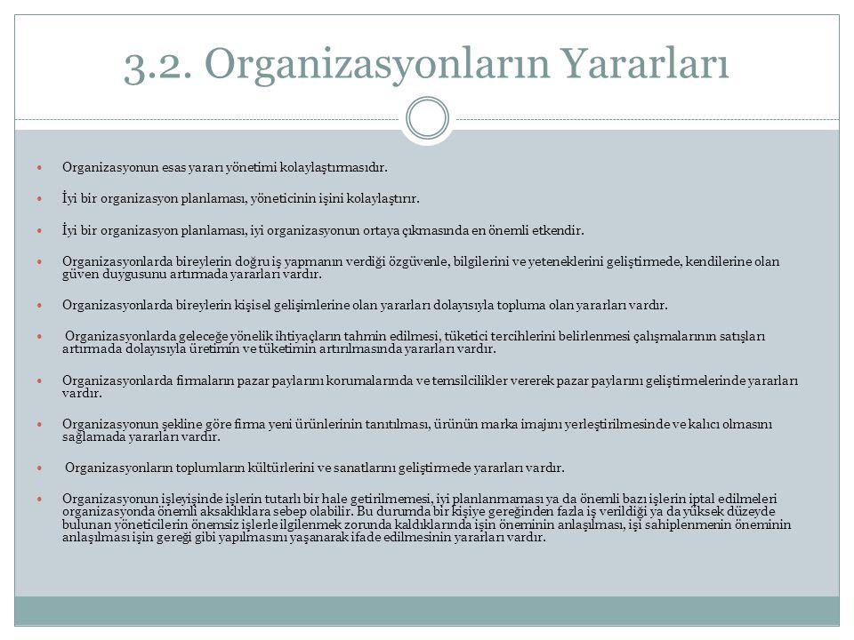 3.2. Organizasyonların Yararları