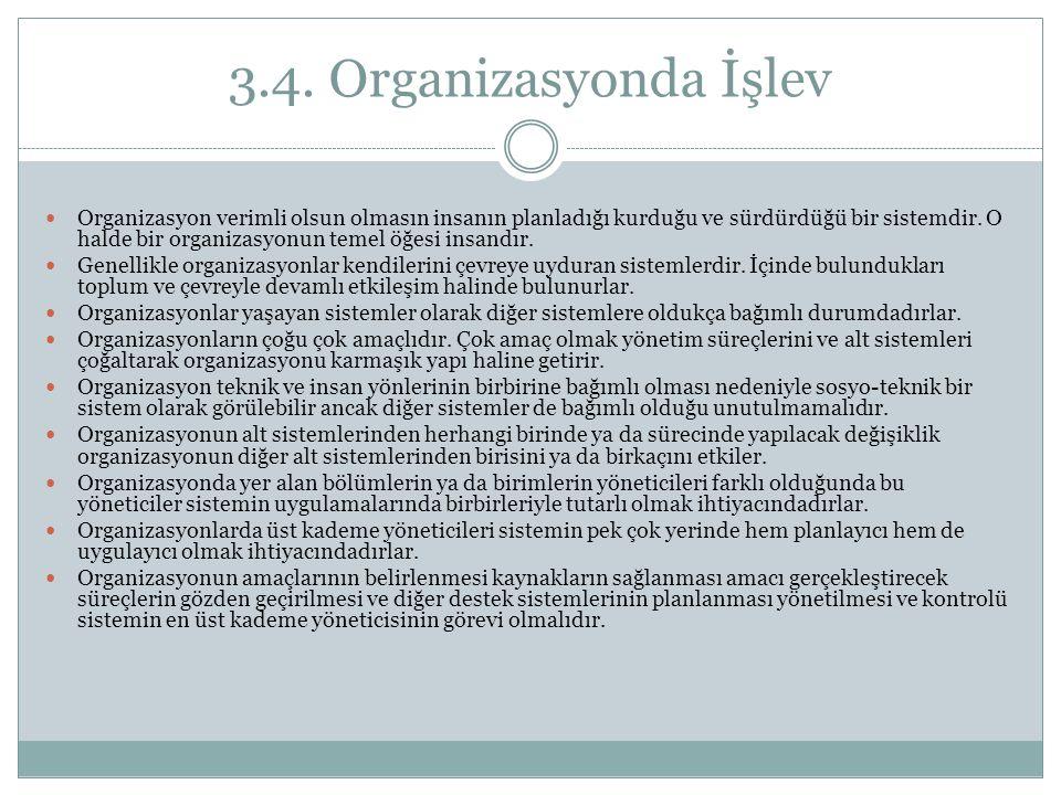 3.4. Organizasyonda İşlev