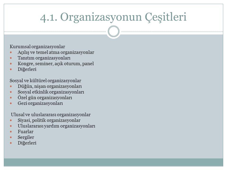 4.1. Organizasyonun Çeşitleri
