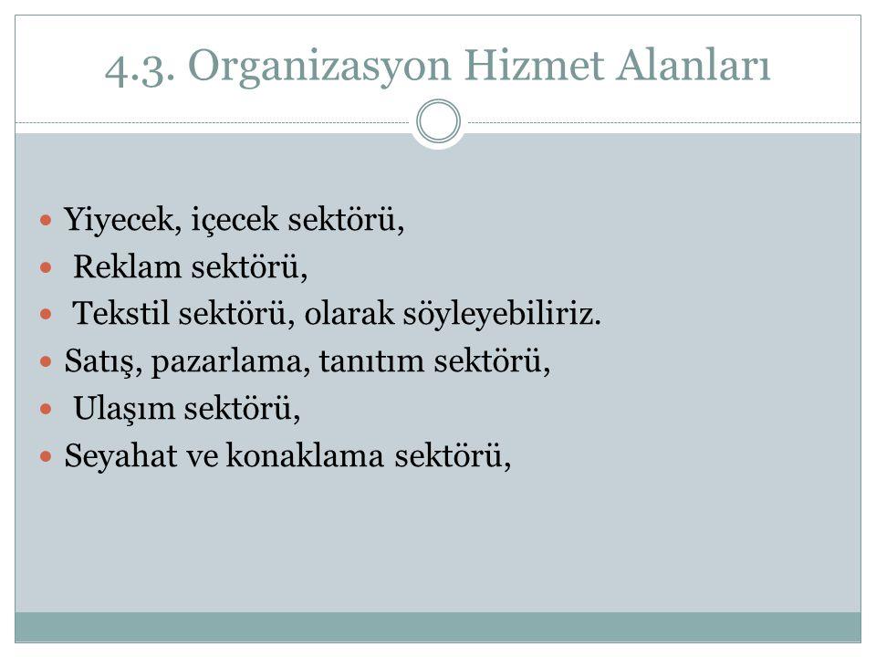 4.3. Organizasyon Hizmet Alanları