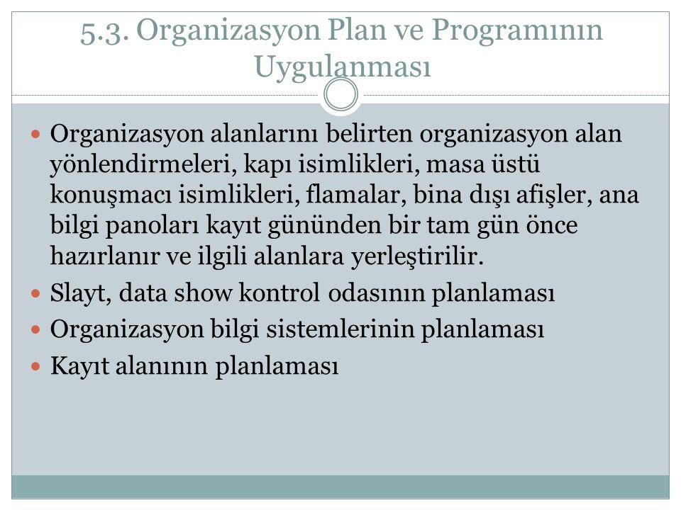 5.3. Organizasyon Plan ve Programının Uygulanması