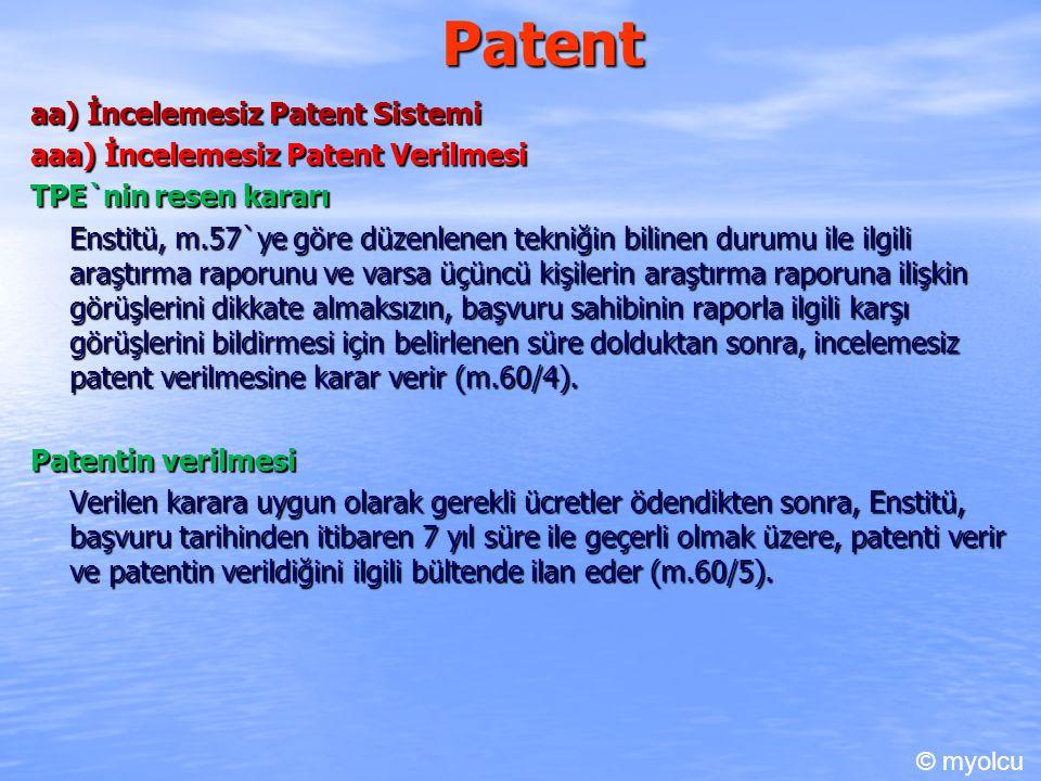 Patent aa) İncelemesiz Patent Sistemi