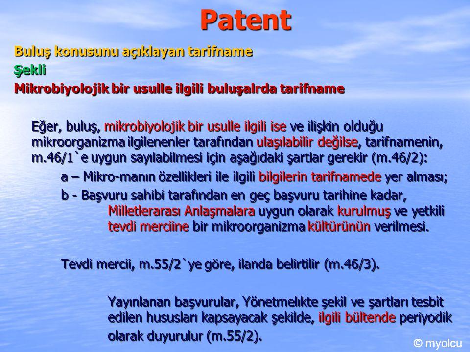 Patent Buluş konusunu açıklayan tarifname Şekli