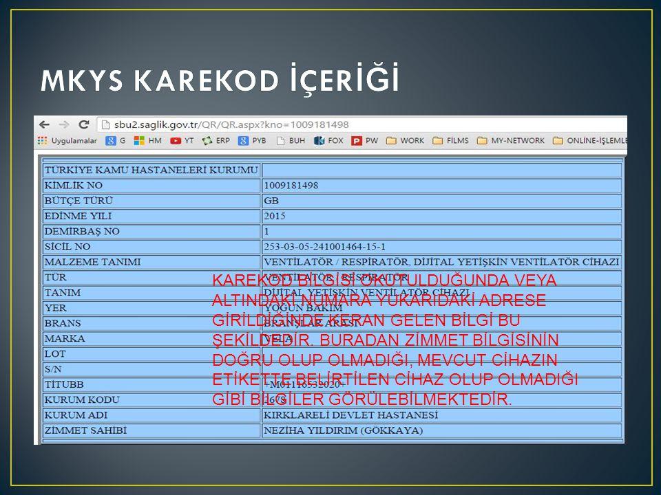 MKYS KAREKOD İÇERİĞİ