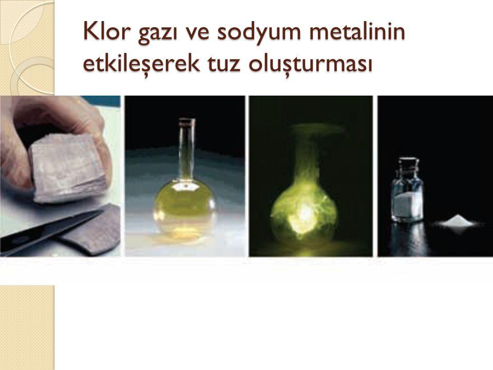 Klor gazı ve sodyum metalinin etkileşerek tuz oluşturması