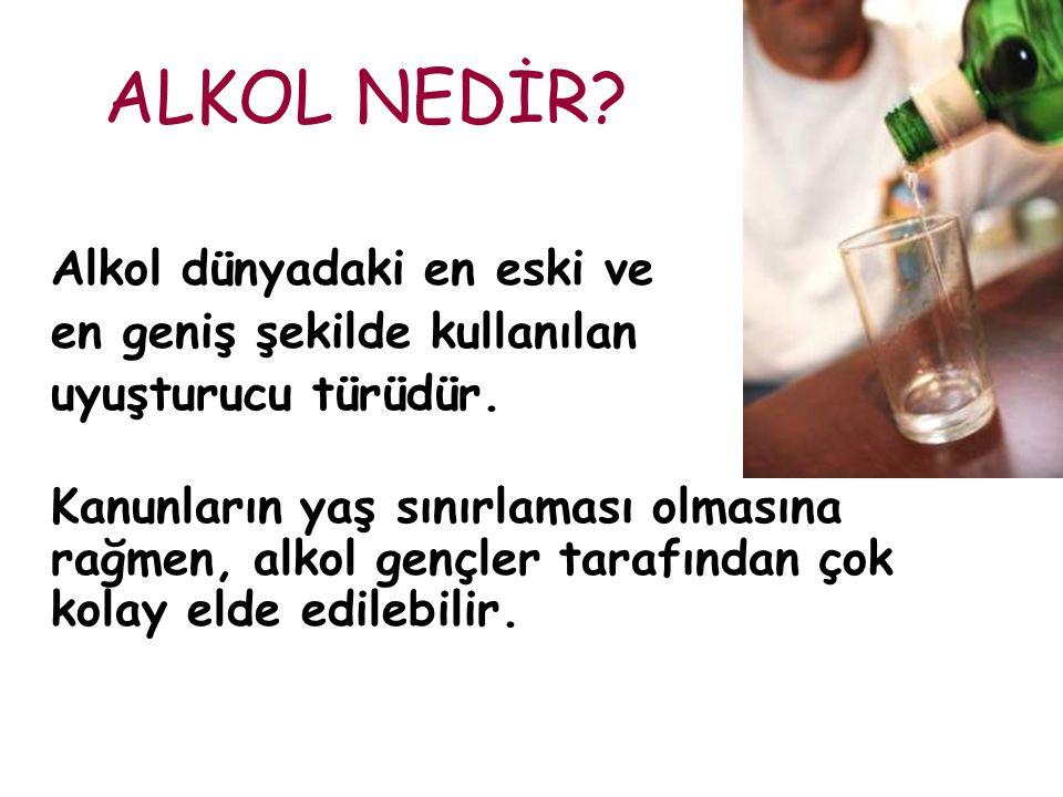 ALKOL NEDİR Alkol dünyadaki en eski ve en geniş şekilde kullanılan