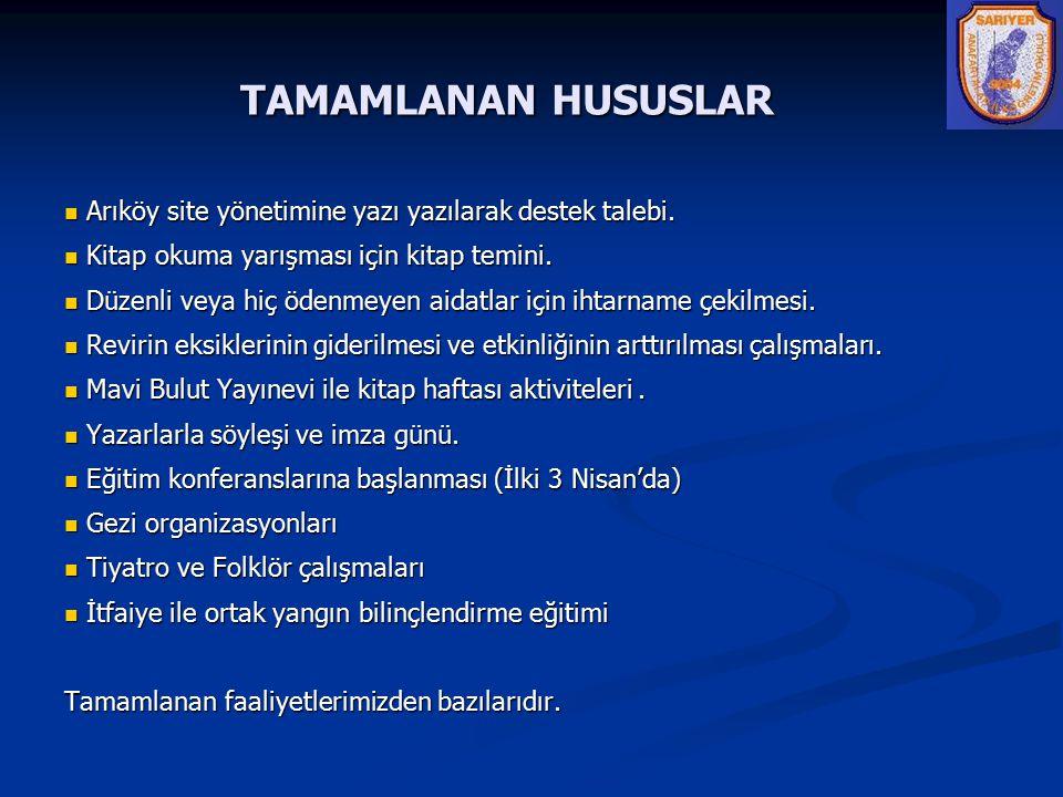 TAMAMLANAN HUSUSLAR Arıköy site yönetimine yazı yazılarak destek talebi. Kitap okuma yarışması için kitap temini.