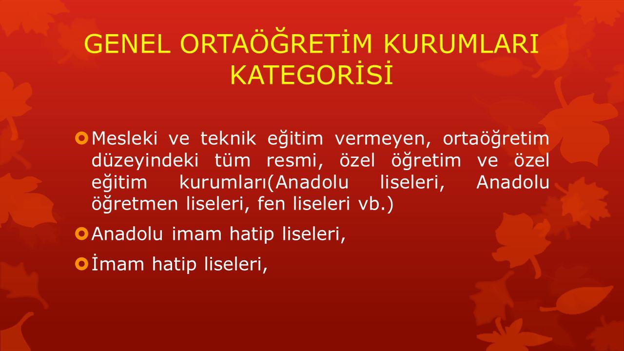 GENEL ORTAÖĞRETİM KURUMLARI KATEGORİSİ