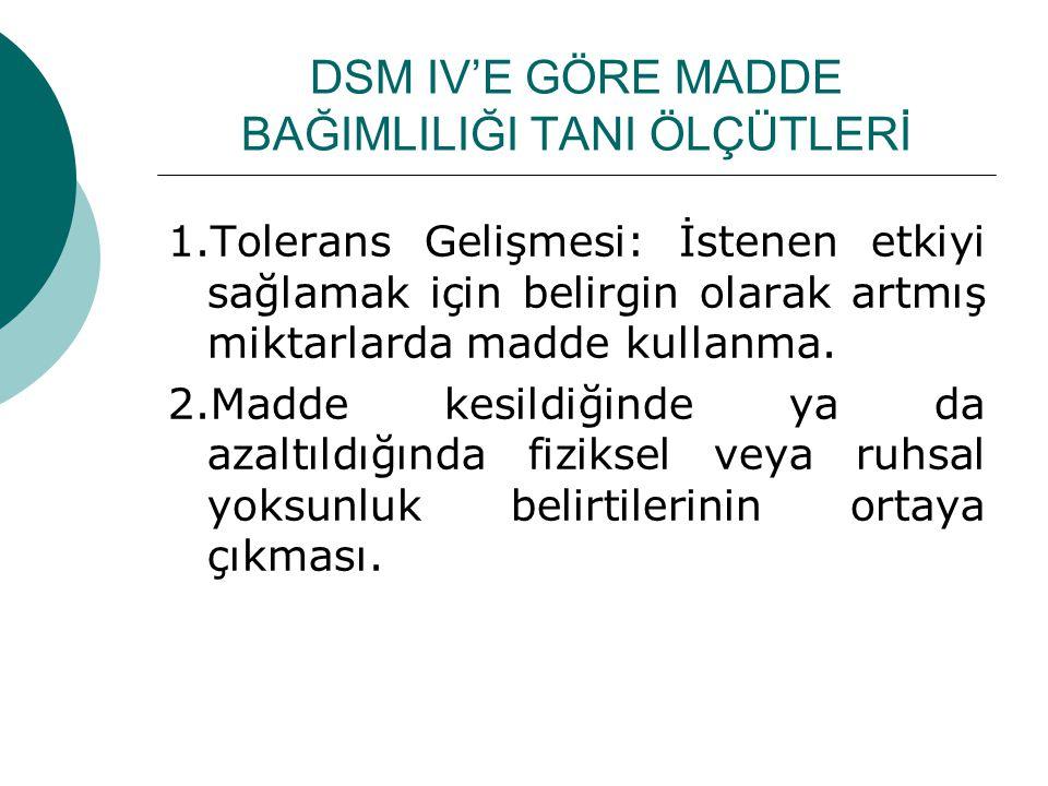 DSM IV'E GÖRE MADDE BAĞIMLILIĞI TANI ÖLÇÜTLERİ