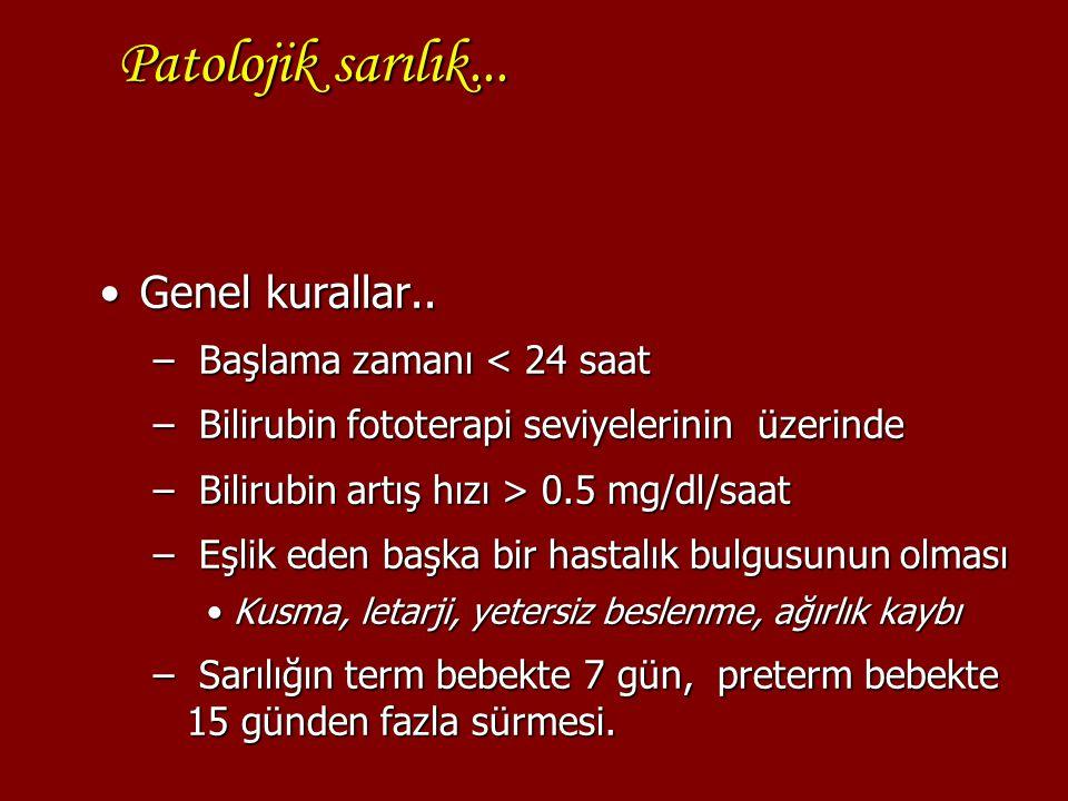Patolojik sarılık... Genel kurallar.. Başlama zamanı < 24 saat