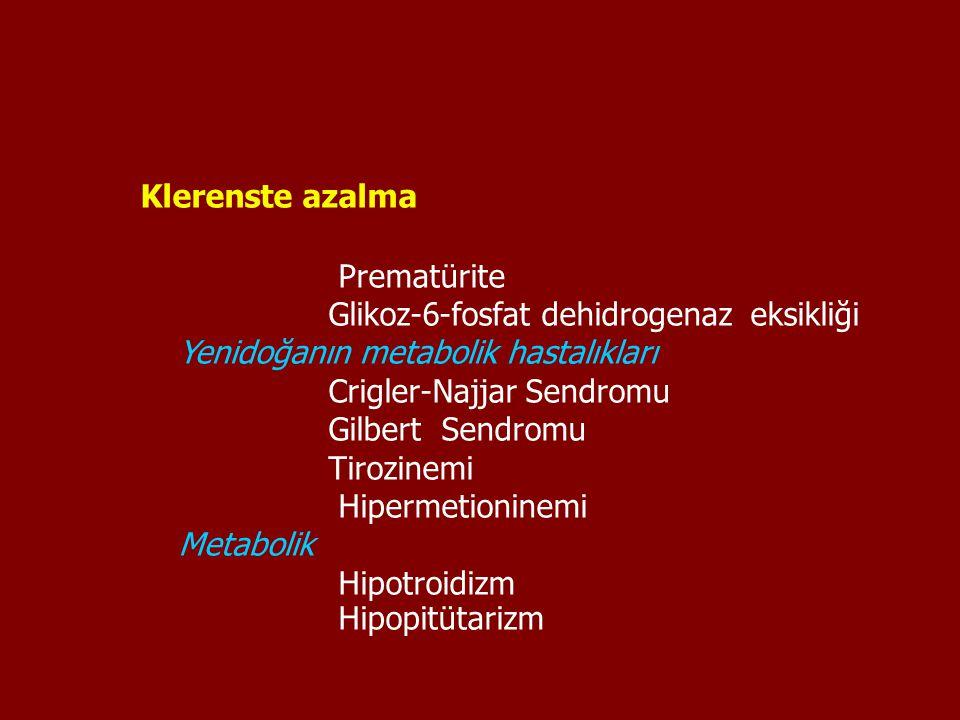 Klerenste azalma Prematürite. Glikoz-6-fosfat dehidrogenaz eksikliği. Yenidoğanın metabolik hastalıkları.