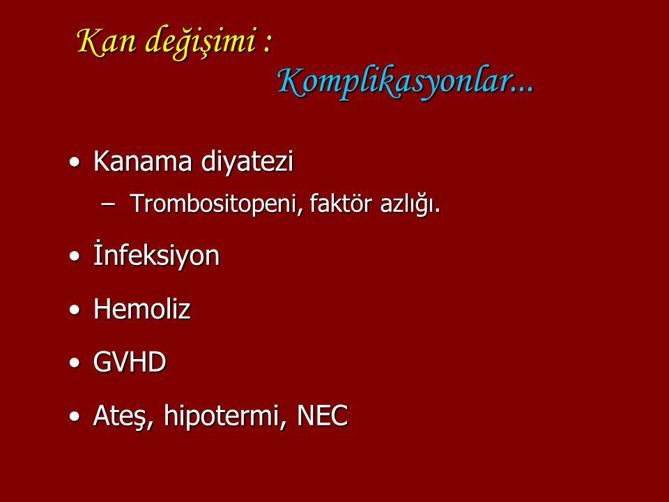 Kan değişimi : Komplikasyonlar...