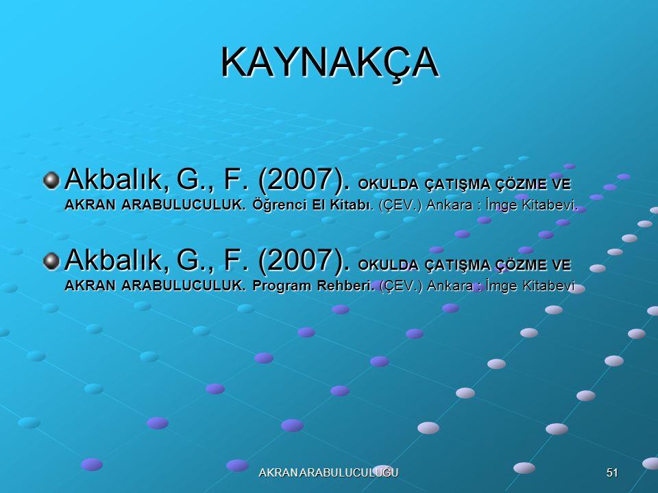 KAYNAKÇA Akbalık, G., F. (2007). OKULDA ÇATIŞMA ÇÖZME VE AKRAN ARABULUCULUK. Öğrenci El Kitabı. (ÇEV.) Ankara : İmge Kitabevi.