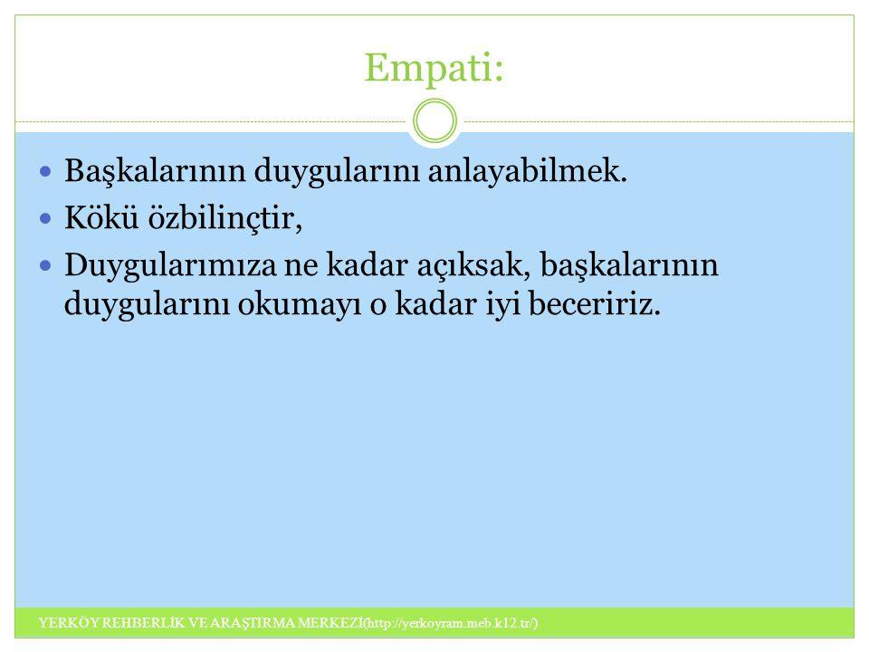 Empati: Başkalarının duygularını anlayabilmek. Kökü özbilinçtir,