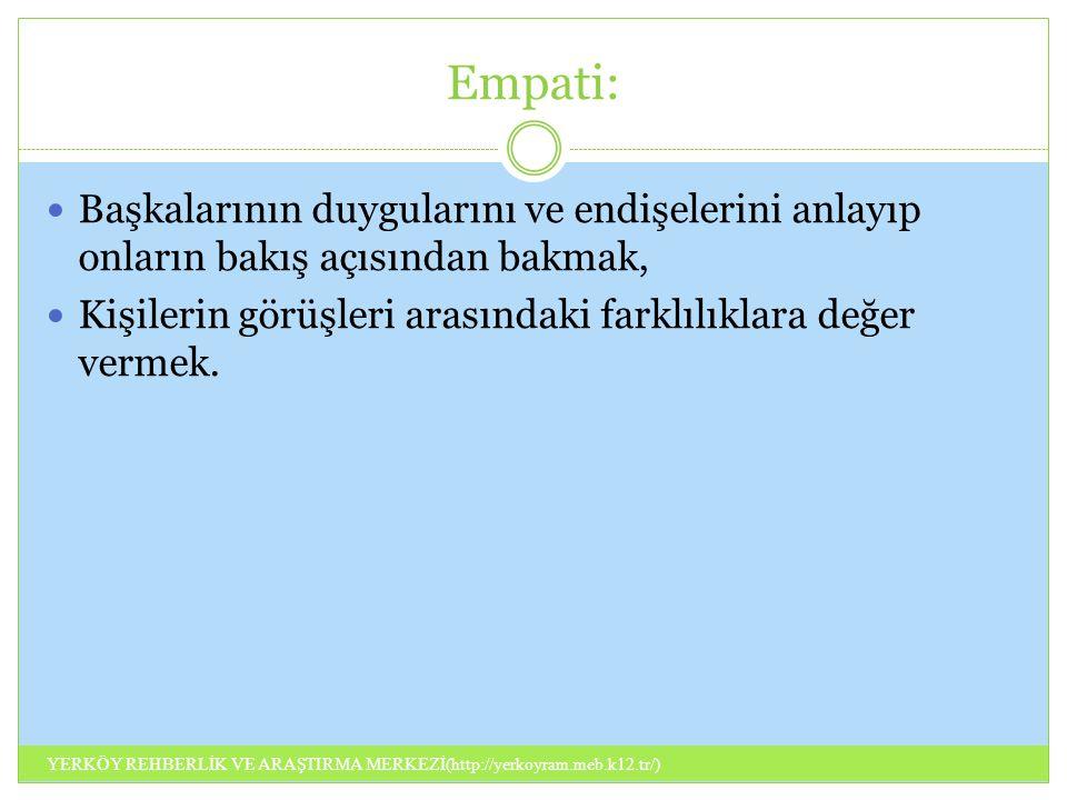 Empati: Başkalarının duygularını ve endişelerini anlayıp onların bakış açısından bakmak, Kişilerin görüşleri arasındaki farklılıklara değer vermek.