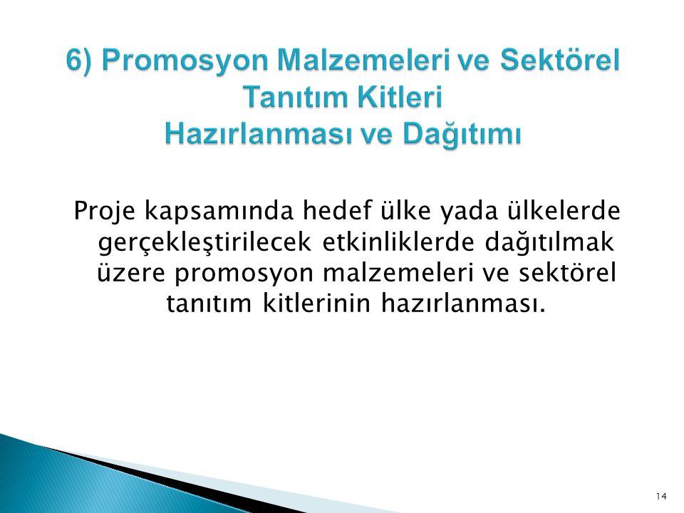 6) Promosyon Malzemeleri ve Sektörel Tanıtım Kitleri Hazırlanması ve Dağıtımı