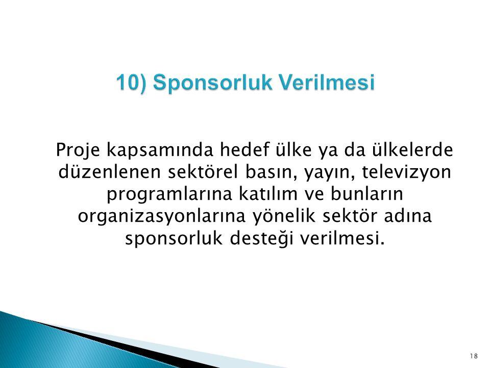 10) Sponsorluk Verilmesi