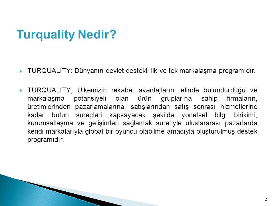 Turquality Nedir TURQUALITY; Dünyanın devlet destekli ilk ve tek markalaşma programıdır.