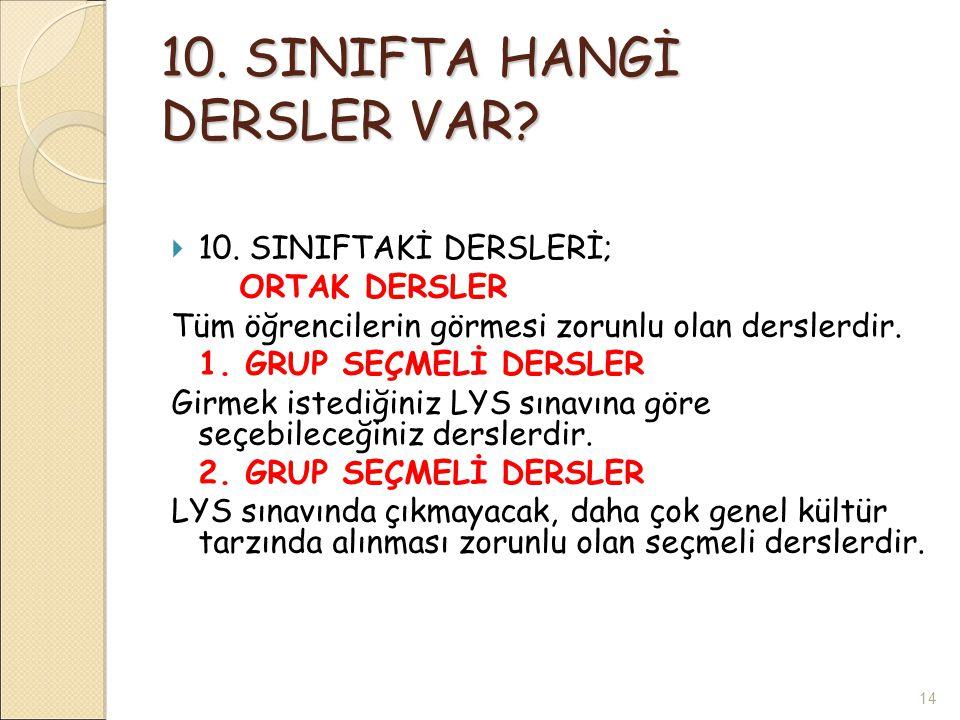10. SINIFTA HANGİ DERSLER VAR