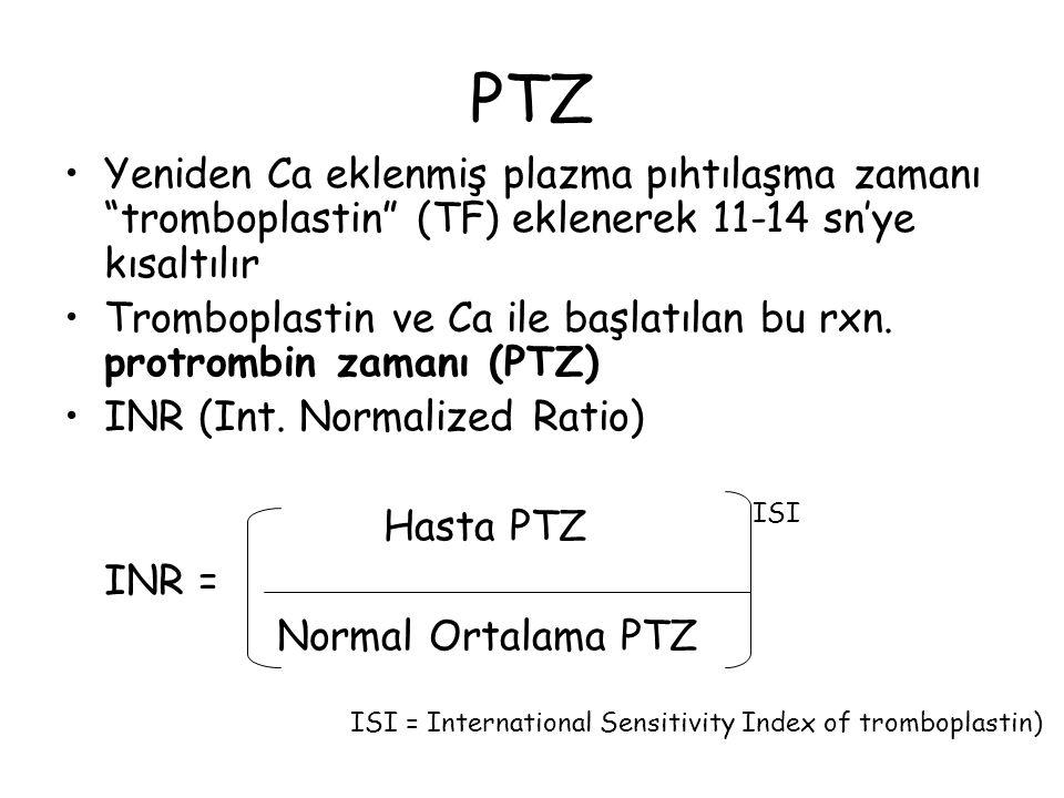 PTZ Yeniden Ca eklenmiş plazma pıhtılaşma zamanı tromboplastin (TF) eklenerek 11-14 sn'ye kısaltılır.